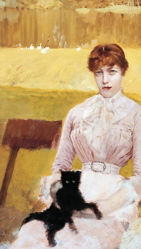 Cat Print featuring the painting Lady With Black Kitten by Giuseppe De Nittis