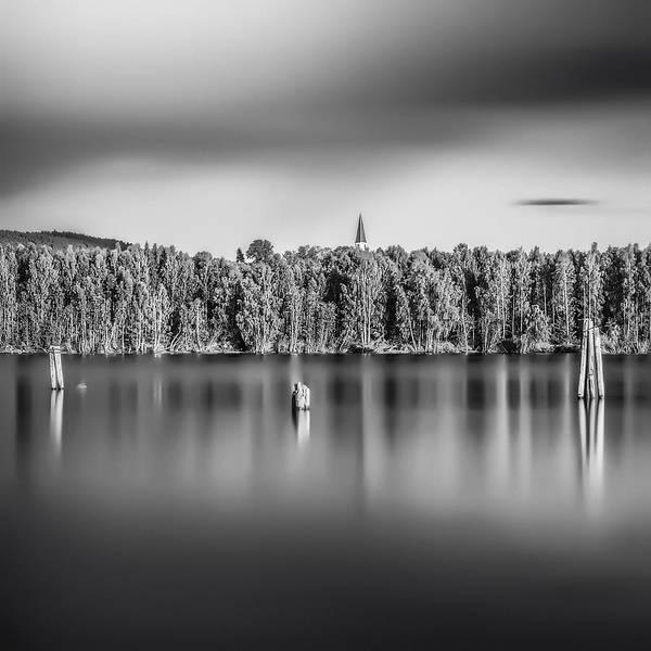 Beak Print featuring the photograph Lake Oyeren by Erik Brede