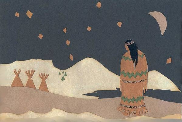 Christmas Card Print featuring the drawing Lakota Woman With Winter Constellations by Dawn Senior-Trask