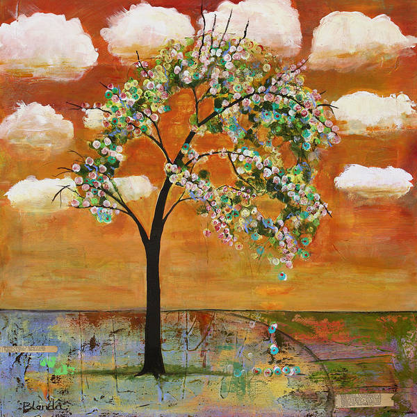 Landscapes Art Print featuring the painting Landscape Art Scenic Tree Tangerine Sky by Blenda Studio
