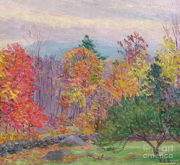 Tree Print featuring the painting Landscape At Hancock In New Hampshire by Lilla Cabot Perry