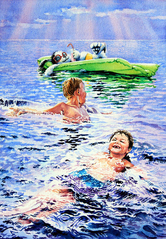 Boys Swimming Painting Print featuring the painting Lazy Hazy Crazy Days by Hanne Lore Koehler