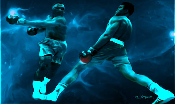 Muhammad Ali Print featuring the digital art Lean Back by Brian Reaves