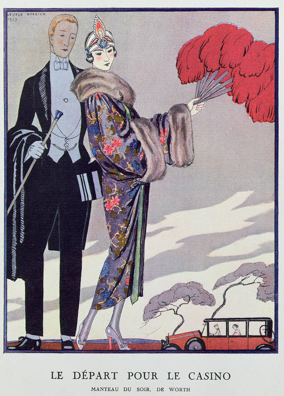 Fur Print featuring the painting Leaving For The Casino by Georges Barbier