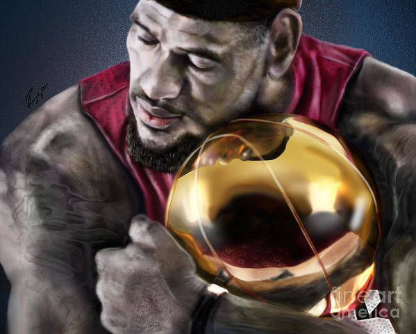 Lebron James Print featuring the painting Lebron James - My Way by Reggie Duffie