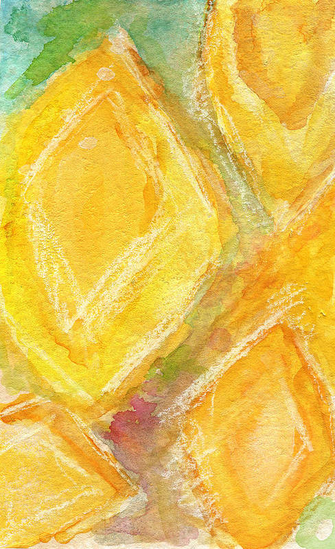 Abstract Painting Print featuring the painting Lemon Drops by Linda Woods
