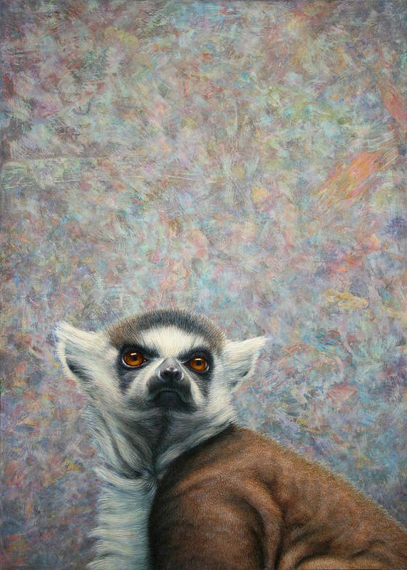 Lemur Print featuring the painting Lemur by James W Johnson