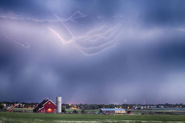 Lightning Print featuring the photograph Lightning Storm And The Big Red Barn by James BO Insogna