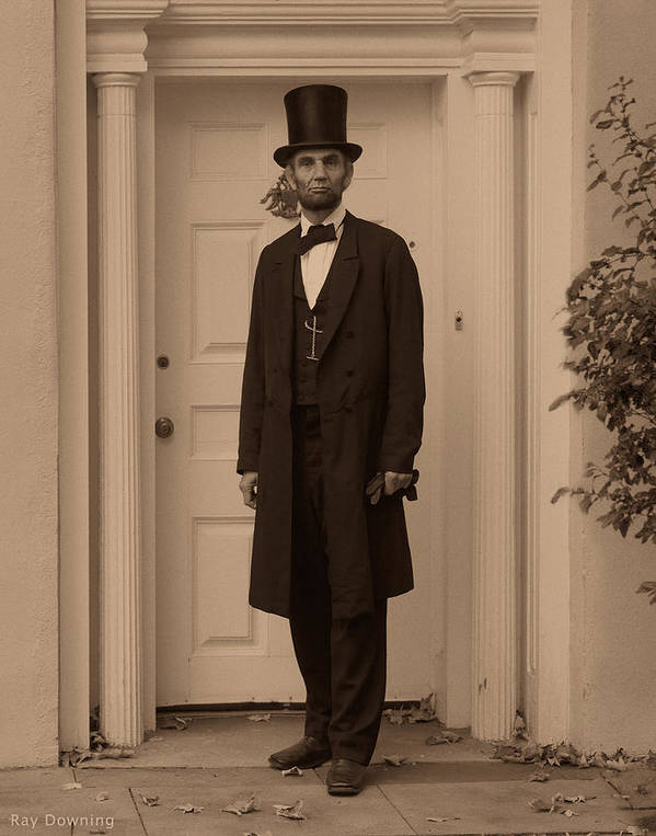 Abraham Lincoln Print featuring the digital art Lincoln Leaving A Building by Ray Downing