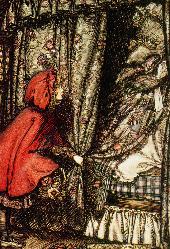 Fairytale Print featuring the drawing Little Red Riding Hood by Arthur Rackham