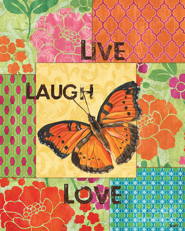 Butterfly Print featuring the painting Live Laugh Love Patch by Debbie DeWitt