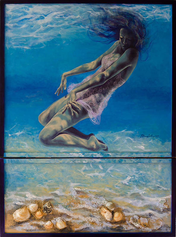 Fantasy Print featuring the painting Longing From The Depths by Dorina Costras