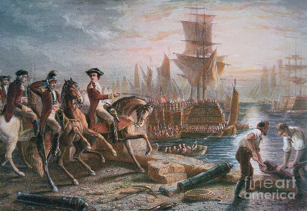 British Army; Cavalry; Ship; Boat; Navy; Naval; American; Us; United States; American Revolutionary War; Escape; Evacuation; Directing; C18th; Defeat Print featuring the painting Lord Howe Organizes The British Evacuation Of Boston In March 1776 by English School