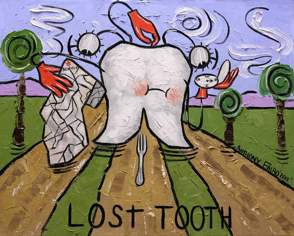 Lost Tooth Print featuring the painting Lost Tooth by Anthony Falbo