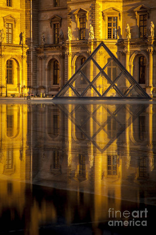 Architectural Print featuring the photograph Louvre Sunset by Brian Jannsen