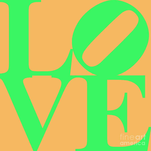 Love Print featuring the digital art Love 20130707 Green Orange by Wingsdomain Art and Photography