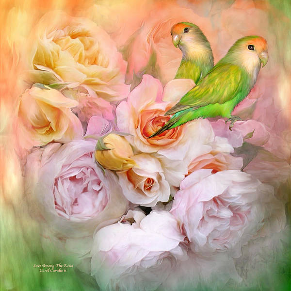 Love Birds Print featuring the mixed media Love Among The Roses by Carol Cavalaris