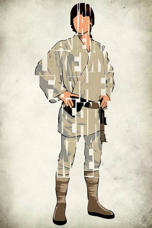 Luke Skywalker Print featuring the drawing Luke Skywalker - Mark Hamill by Ayse Deniz