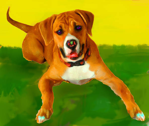 Boxer Pup Playing Print featuring the mixed media Maggie by Tammy Berk