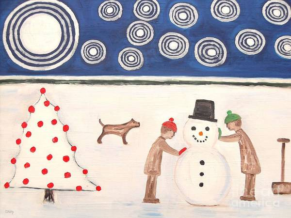 Snowman Print featuring the painting Making A Snowman At Christmas by Patrick J Murphy