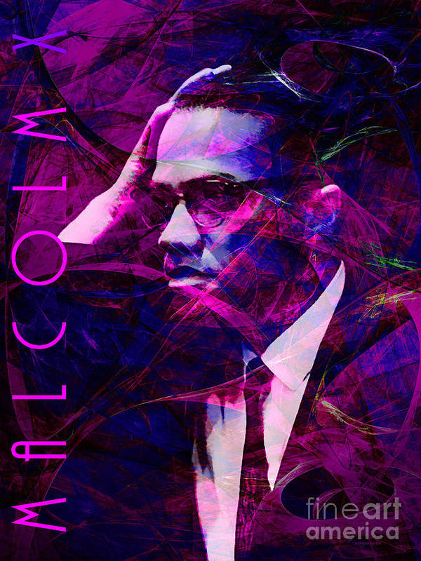 Celebrity Print featuring the photograph Malcolm X 20140105m88 With Text by Wingsdomain Art and Photography