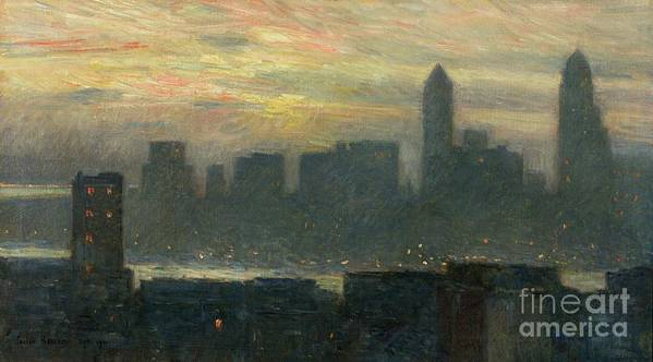 Nyc; New York City; Ny; Us; Usa; Skyline; Mist; Fog; Atmospheric; Evening; Dusk; American Impressionist; Skyscraper; Skyscrapers; River; Tower; Fog Print featuring the painting Manhattans Misty Sunset by Childe Hassam