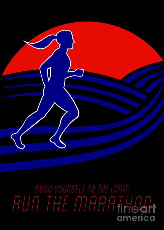 Poster Print featuring the digital art Marathon Runner Female Pushing Limits Poster by Aloysius Patrimonio