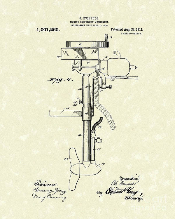 Evinrude Print featuring the drawing Marine Propulsion 1911 Patent Art by Prior Art Design