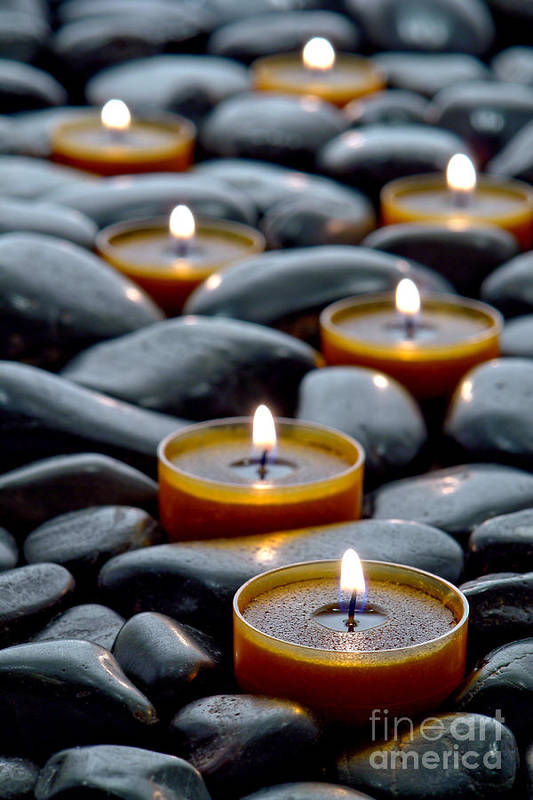 Candles Print featuring the photograph Meditation Candles by Olivier Le Queinec