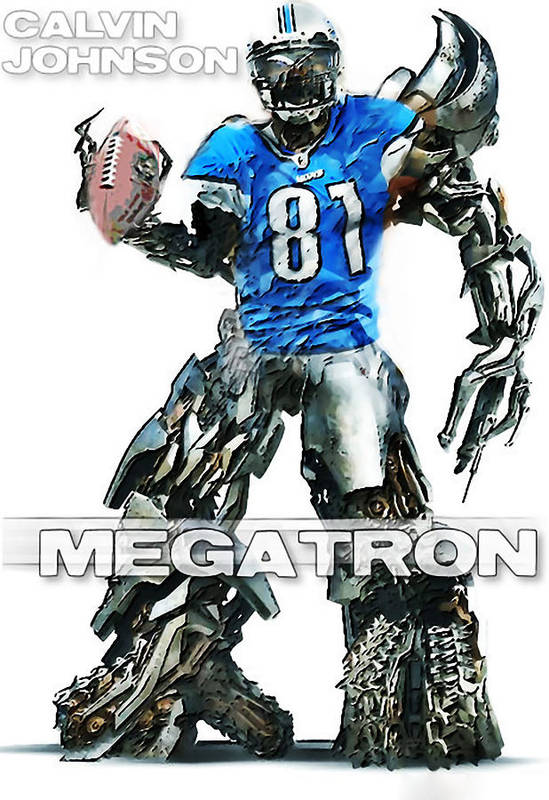 Nfl Print featuring the digital art Megatron-calvin Johnson by Peter Chilelli