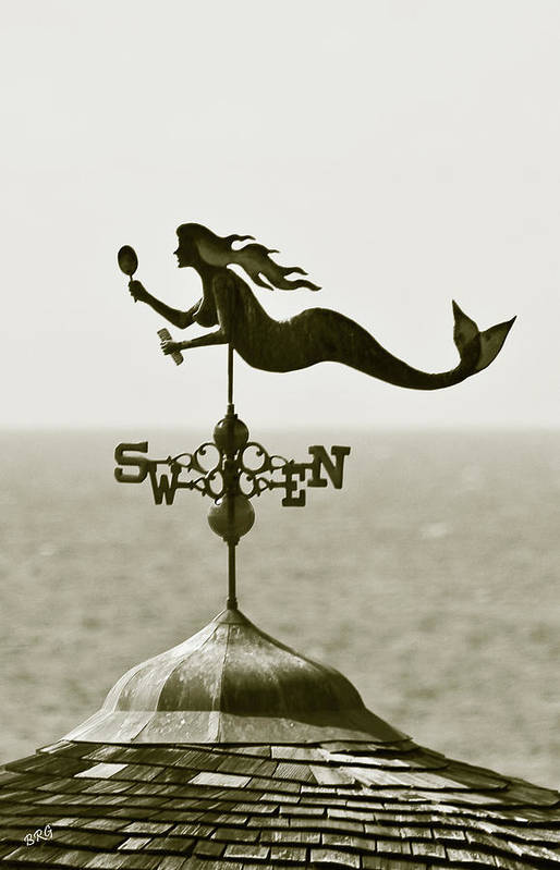 Mermaid Print featuring the photograph Mermaid Weathervane In Sepia by Ben and Raisa Gertsberg