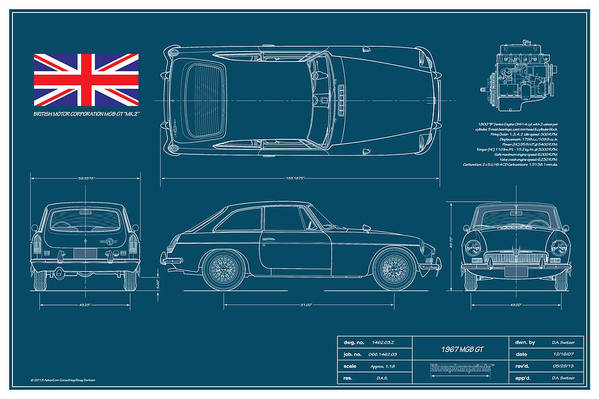 Automotive Print featuring the drawing Mgb Gt Blueplanprint by Douglas Switzer