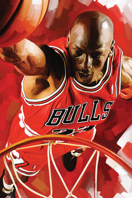 Nba Print featuring the painting Michael Jordan Artwork 3 by Sheraz A