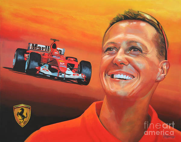 Michael Schumacher Print featuring the painting Michael Schumacher 2 by Paul Meijering