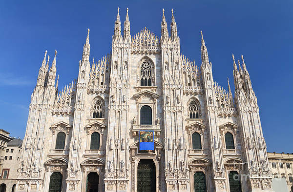 Ancient Print featuring the photograph Milan Cathedral by Antonio Scarpi