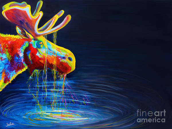 Moose Print featuring the painting Moose Drool  by Teshia Art