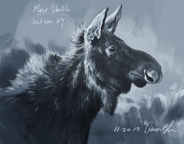 Moose Print featuring the digital art Moose Sketch by Aaron Blaise