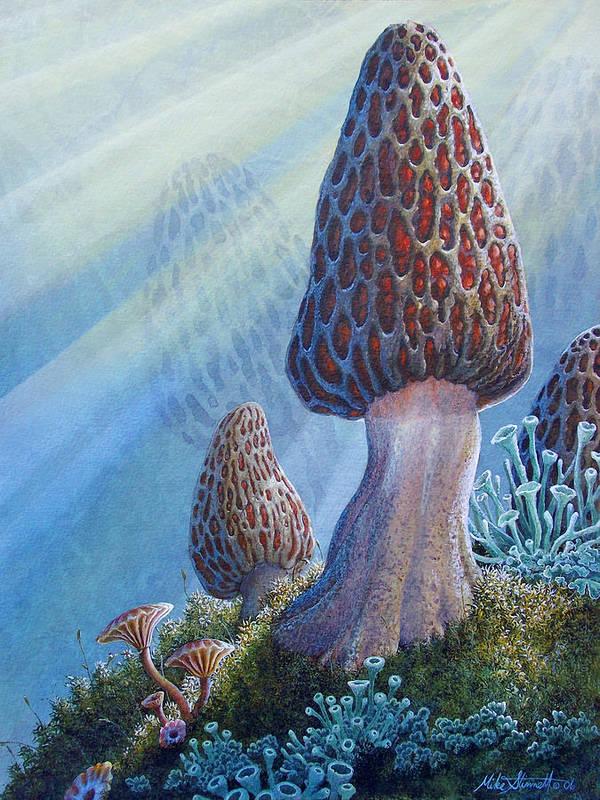 Morel Mushroom Painting Print featuring the painting Morel Mushrooms by Mike Stinnett