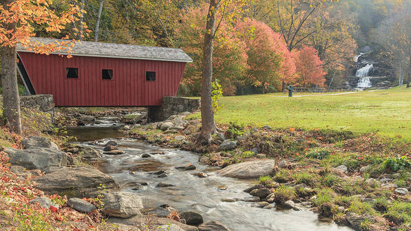 Covered Bridge Print featuring the photograph Morning At The Park by Bill Wakeley
