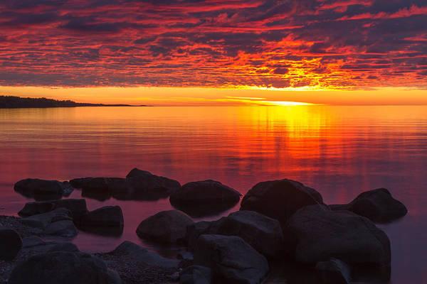 morning Glow lake Superior lake Superior North Shore Nature nature Cards Duluth brighton Beach Sunrise Dawn great Lake mary Amerman Print featuring the photograph Morning Glow by Mary Amerman