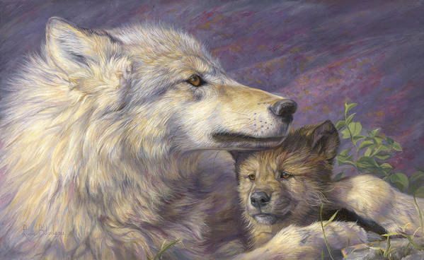 Wolf Print featuring the painting Mother's Love by Lucie Bilodeau