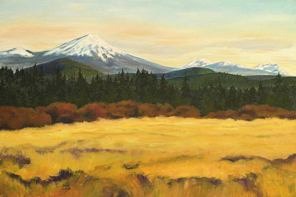Landscapes Print featuring the painting Mt. Bachelor by Donna Drake