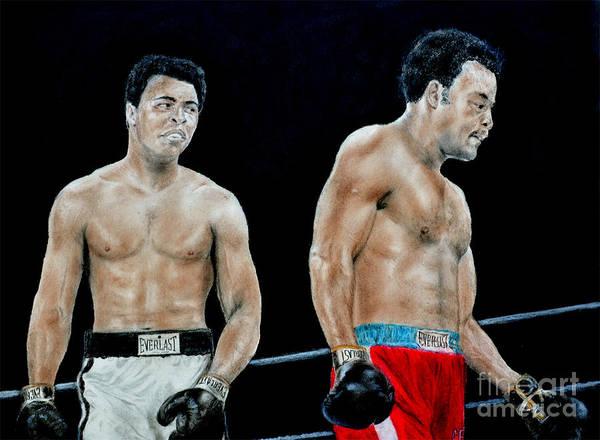 Muhammad Ali Vs George Foreman Print featuring the drawing Muhammad Ali Vs George Foreman by Jim Fitzpatrick