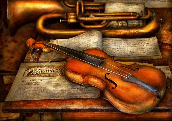 Suburbanscenes Print featuring the photograph Music - Violin - Played It's Last Song by Mike Savad