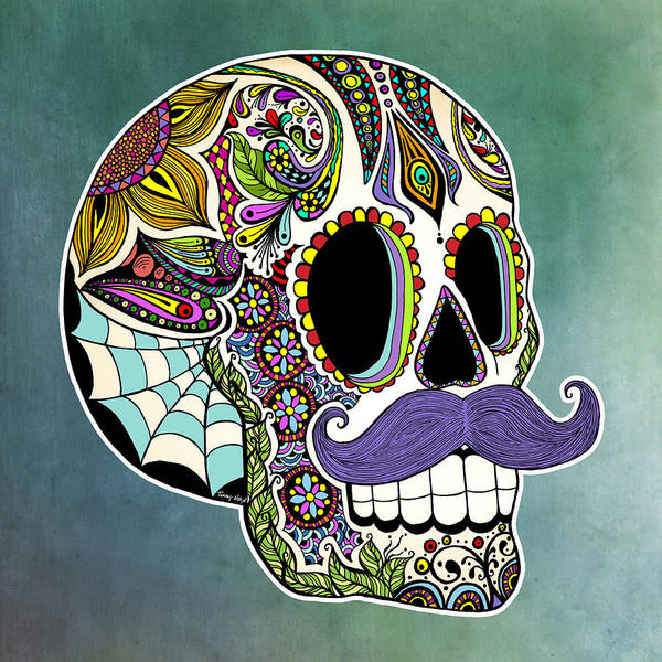 Sugar Skull Print featuring the drawing Mustache Sugar Skull by Tammy Wetzel