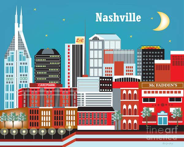 Nashville Print featuring the digital art Nashville by Karen Young