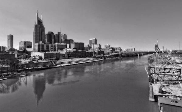 Nashville Skyline In Black And White At Day Print featuring the photograph Nashville Skyline In Black And White At Day by Dan Sproul