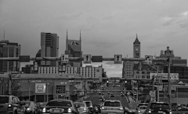 Nashville Skyline In Black And White Print featuring the photograph Nashville Skyline In Black And White by Dan Sproul
