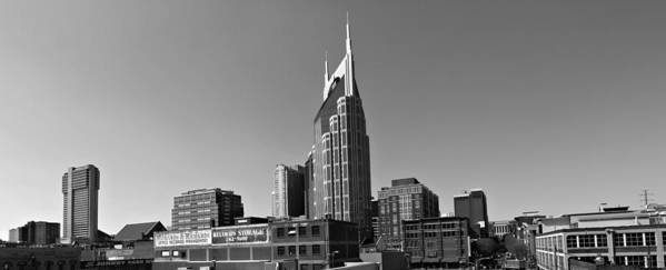 Nashville Tennessee Skyline Black And White Print featuring the photograph Nashville Tennessee Skyline Black And White by Dan Sproul