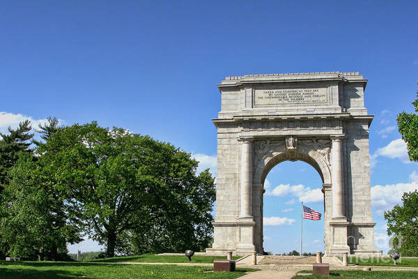 Valley Forge Print featuring the photograph National Memorial Arch At Valley Forge by Olivier Le Queinec